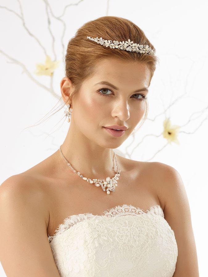 Diadem Kette Ohrringe Braut-Accessoires Brautmoden mit Herz